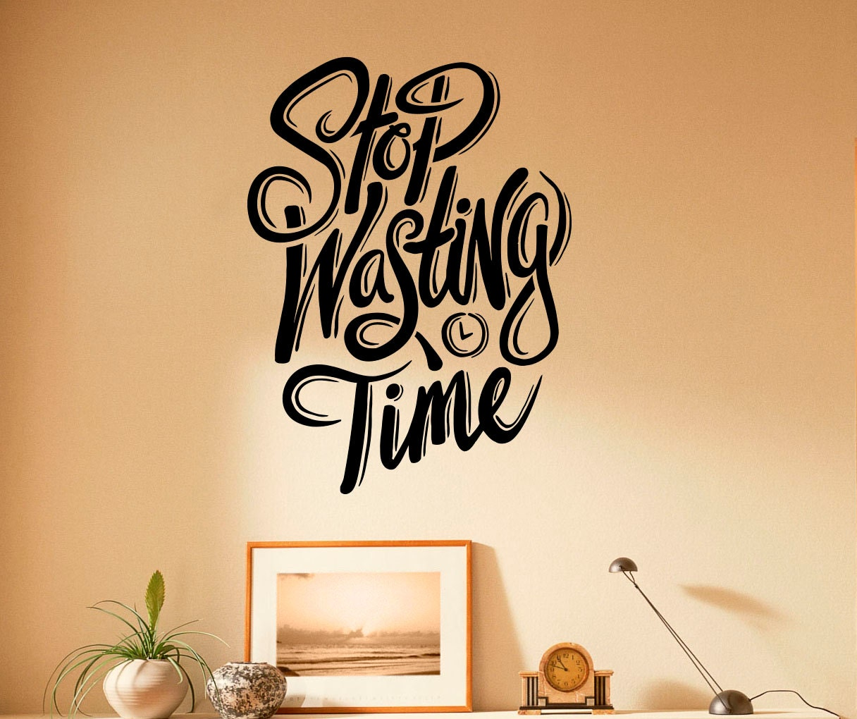 Stop Wasting Time Quotes: Stop Wasting Time Motivation Quote Wall Decal Vinyl