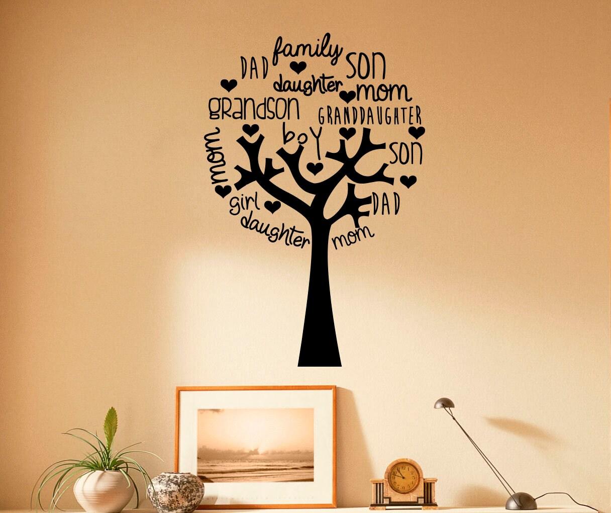 Family Tree Wall Decal Vinyl Sticker Family Members Home | Etsy