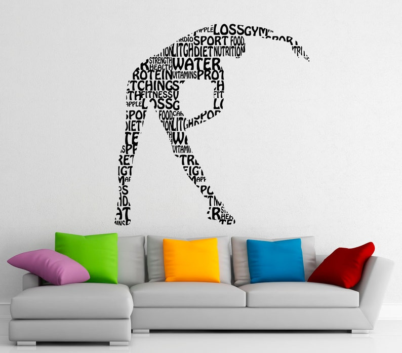 Gym Fitness Wall Decal Wall Stickers Sports Interior Bedroom Home Decor Dorm Room Wall Art Murals 4f01s