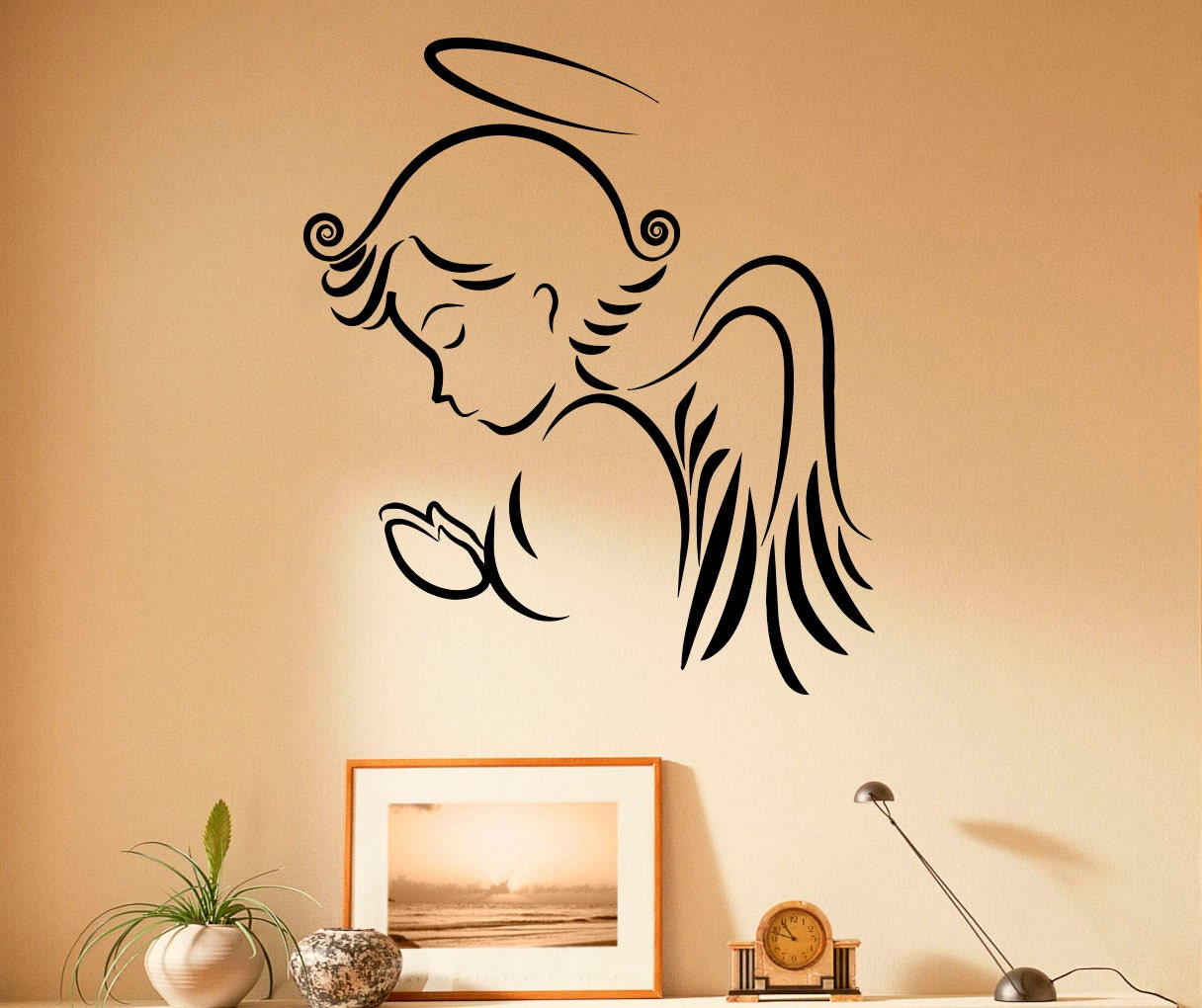 Angel Wall Decal Religion Vinyl Stickers Jesus Christ Home | Etsy