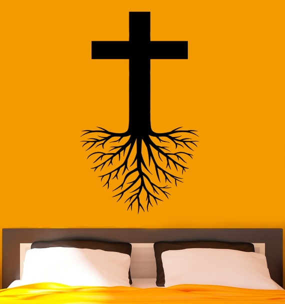 cross with roots wall decal religion vinyl stickers jesus | etsy