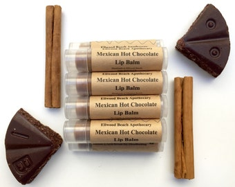 Organic Mexican Hot Chocolate Lip Balm; Cocoa Butter Beeswax, Jojoba, Baobab oils by Ellwood Beach Apothecary (All Natural) Chapstick
