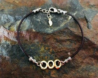 Thin Genuine Leather Mixed Metal Bracelet with Pewter Charm
