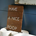 "Reclaimed Rustic Mini Wood Sign: Have A Nice Poop 6""x8"" // bathroom decor // guest bathroom // dorm decor //"