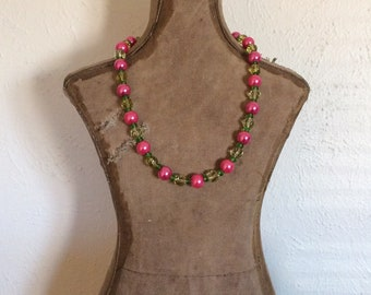 Fuschia, Canary and Lime Beaded Necklace