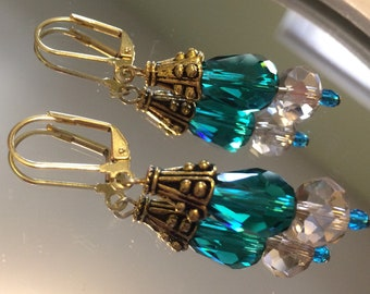 Teal and Champagne Crystal and Gold Drop Earrings
