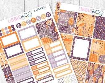 163KIT // EW PLUM PUMPKIN 2 Page Weekly Kit for the Vertical Erin Condren Planner!!!!