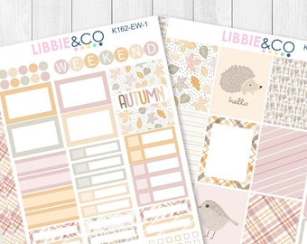 162KIT // EW PASTEL AUTUMN 2 Page Weekly Kit for the Vertical Erin Condren Planner!!!!