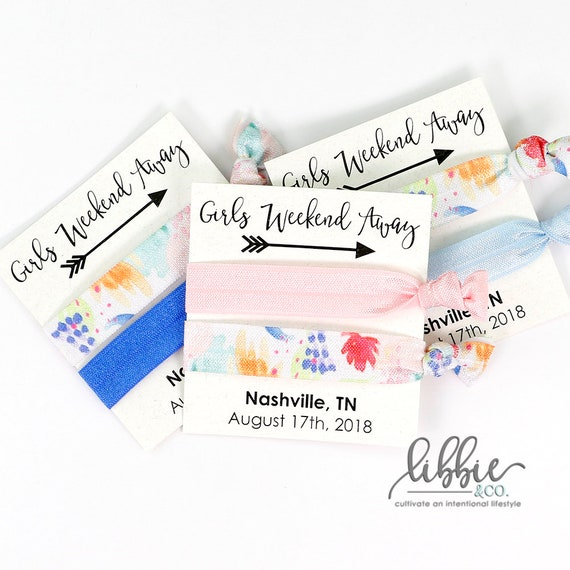 Girls Weekend Favor Personalized GIRLS WEEKEND AWAY Hair Tie Favors with White Card Birthday Favor