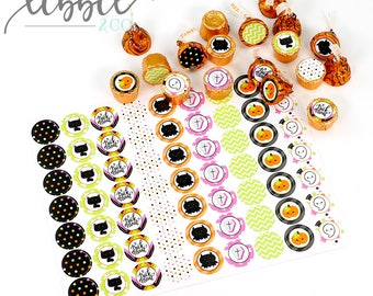 63 Halloween Purple Candy Stickers - hershey kiss stickers - candy labels - party favors