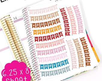 FP LS314 Fall Weekend Scallopped Weekend Banner!  Weekend Stickers  Set of 16 Perfect for the Erin Condren Planner!!!