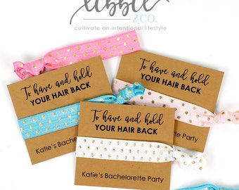 Bachelorette Party Hair Ties Favors, Bridal Party Favor, Bridesmaid Favor, Wedding gift, Gift for her, Elastic Hair Tie, Bridesmaid Gift