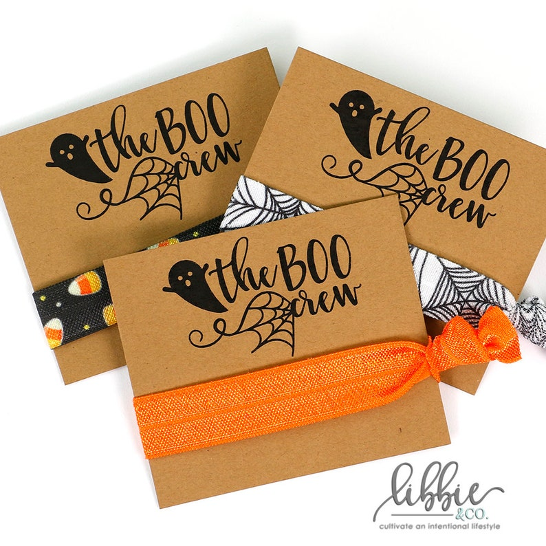 THE BOO CREW Hair Tie Favors Brown Card Halloween Gift image 0