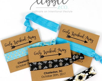 Girls Weekend Hair Ties Favors, Bridal Party Favor, Bridesmaid Favor, Wedding gift, Gift for her, Elastic Hair Tie, Bridesmaid Gift