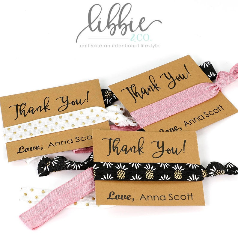 Thank You Hair Tie Favors Gift Goody Bag Birthday