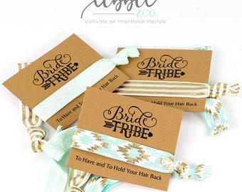 Bride Tribe Hair Ties Favors, Bridal Party Favor, Bachelorette Party Favor, Wedding Planning, Bride Gift, Tie The Knot, Bridesmaid Proposal