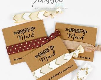 Bridesmaid Proposal Hair Ties Favors, Bridal Party Favor, Bridesmaid Favor, Wedding gift, Gift for her, Elastic Hair Tie, Bridesmaid Gift