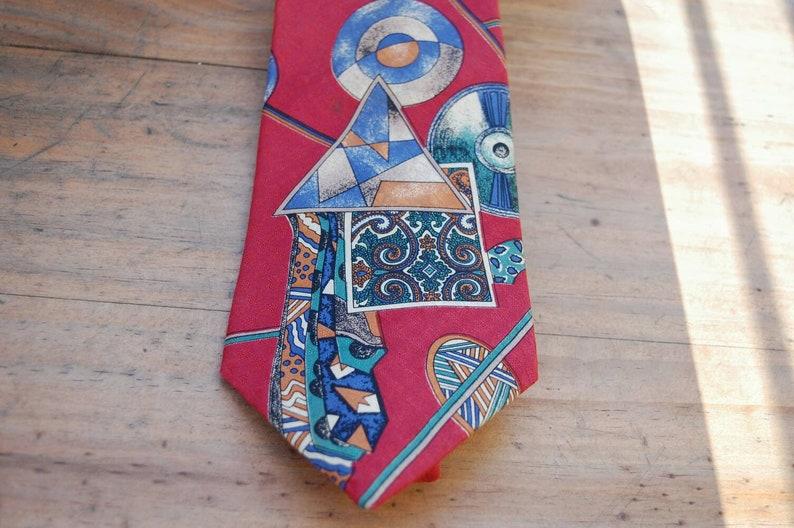 Park Lane 100/% Silk Imported Vintage Tie \u2022 Retro Mens Accessory \u2022 Wine Red and Retro Geometric Patterns \u2022 Second Hand Boutique