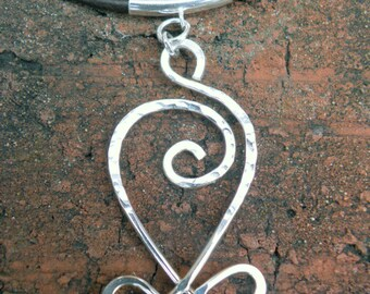 Celtic Heart Necklace, Hammered Silver Necklace, Silver Wire Necklace, Celtic Knot Necklace, Celtic Jewlery