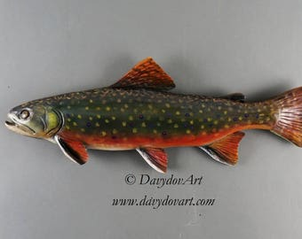 Wood Carved Fish Brook Trout carved Fishing Gift  by Vladimir Davydov Gift for Fisherman Wood Carving Wooden Sculpture Wall Art OOAK Carving