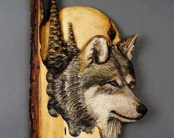 Wolf with Moon and Pines Handcarved in Wood by Davydovart,Wooden Meaningful Gift For Hunters,Cottage Deco For Wild Nature Lovers with Bark