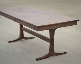 Porter Walnut Trestle Table // Extendable Extension Table // Solid Hardwood with leaf