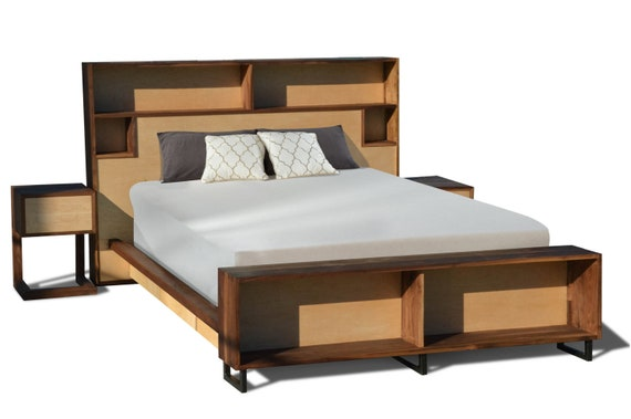 Astonishing Walnut Maple Platform Bed Storage Headboard Charging Headboard Bed With Bench Queen Bed King Bed Underbed Underbed Drawers Pdpeps Interior Chair Design Pdpepsorg