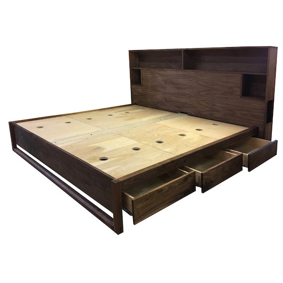 Modern Bed With Headboard Storage And Charging Bed With Drawers Queen Bed King Bed Underbed Storage Easy Assembly Non Toxic Finish