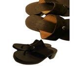 Womens shoes- leather sandals- brown leather sandals- heel sandals- mule sandals- high heel T-strap- suede- Rare J. Crew- Made in Italy 8.5