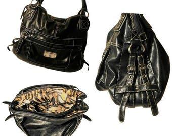 bac3ab56bc99 Womens Vintage Black Leather Leopard Print Handbag
