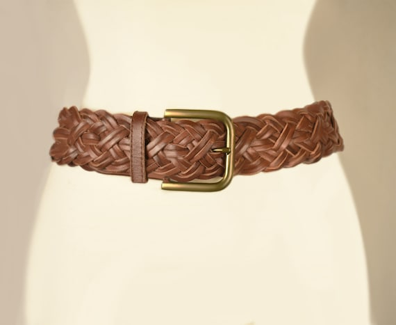 Womens Brown Leather Belt- Woven Belt- Leather Be… - image 5