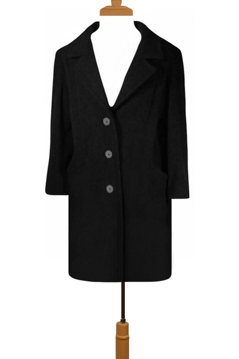Wool Coat Dark Charcoal Gray Coat Vintage Coat Ladies Wool Coat Professional Women/'s Wool Coat L Winter Coat Business Business Coat