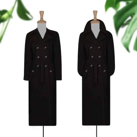 Women's Wool Coat- Long Black Coat- Maxi Coat- Lon