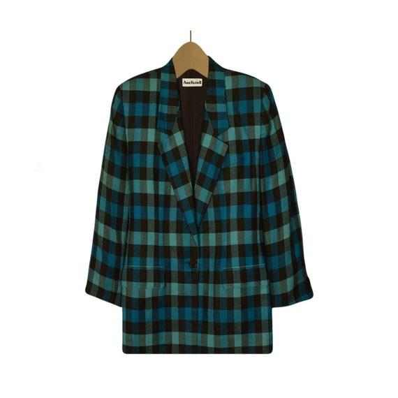 Women's Blazer- Linen Jacket- Linen Blazer- Plaid