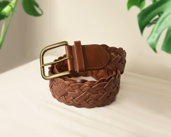 Womens Brown Leather Belt- Woven Belt- Leather Be… - image 6