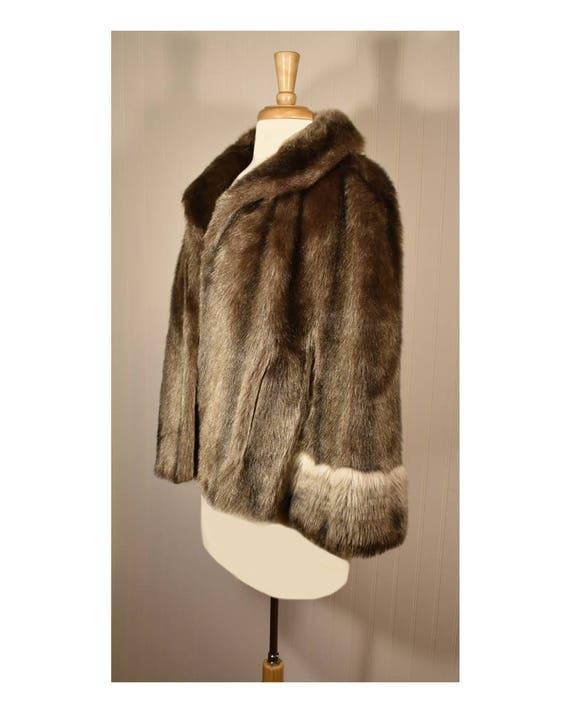 Vintage Faux Fur Cape- Fur Cape- Faux Fur Jacket-… - image 3