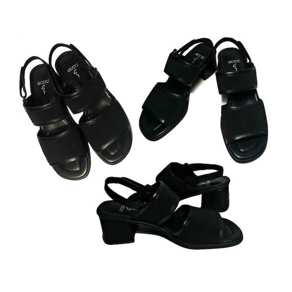 Women's Sandals- Heel Sandals- Black Sandals- Plat