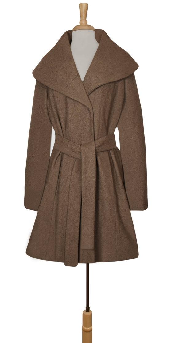 Women's Wool Coat- Wrap Coat- Belted Coat- Shawl … - image 2