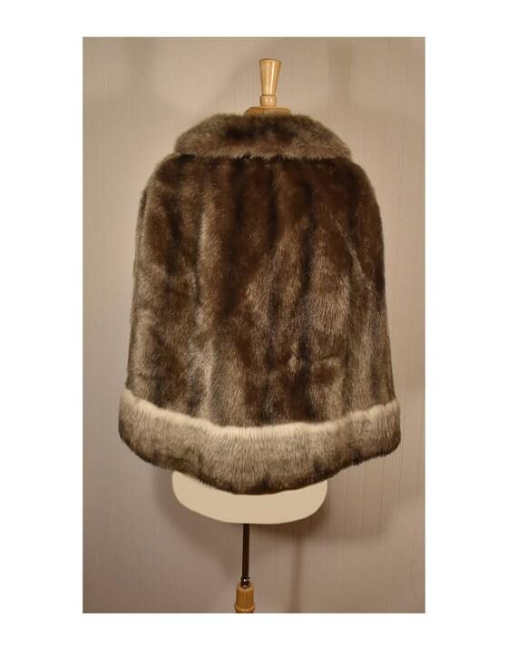Vintage Faux Fur Cape- Fur Cape- Faux Fur Jacket-… - image 9