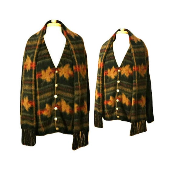 Women's cardigan, wool cardigan, tribal sweater, I
