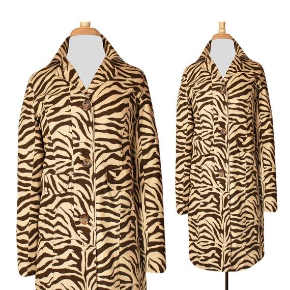Vintage Animal Print Coat- Zebra Print- Long Coat-