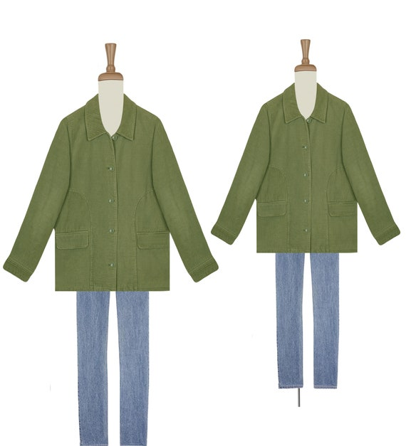 Womens Corduroy Jacket- Green Corduroy Jacket- Vin