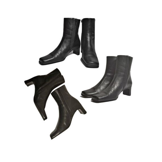 Women's boots, ankle boots, black boots, leather b