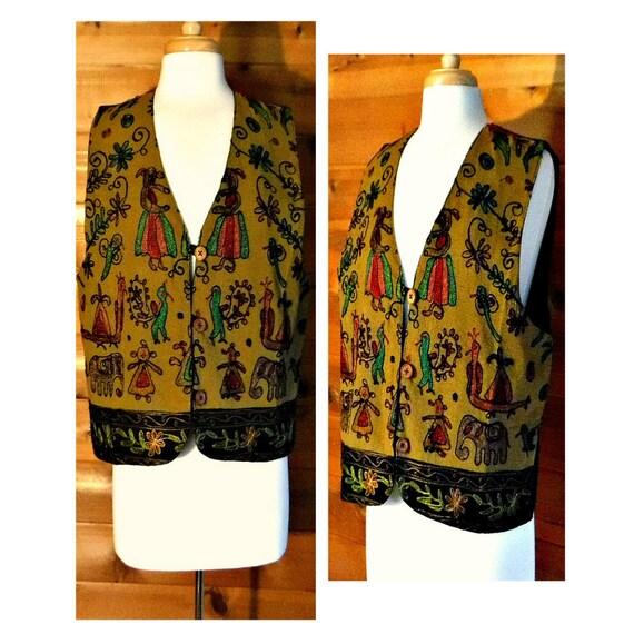 Boho Vest- Embroidered Vest- Womens Vest- Ethnic V