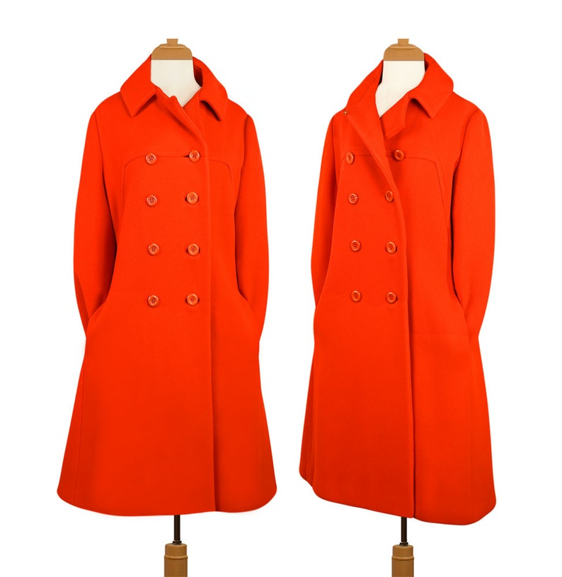 3f0b39bbce6fe Womens Vintage Coat Long Coat Pea Coat Winter Coat Red