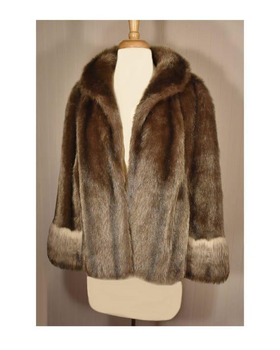 Vintage Faux Fur Cape- Fur Cape- Faux Fur Jacket-… - image 4