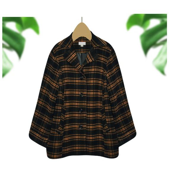 Womens Coat- Womens Plaid Coat- Plaid Jacket- Vint