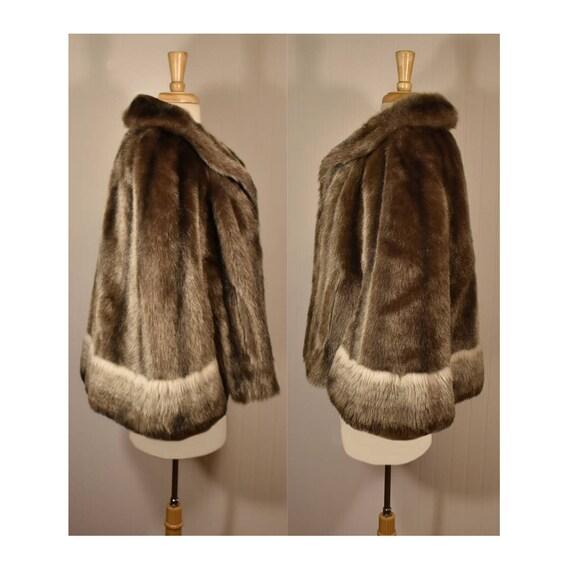 Vintage Faux Fur Cape- Fur Cape- Faux Fur Jacket-… - image 5