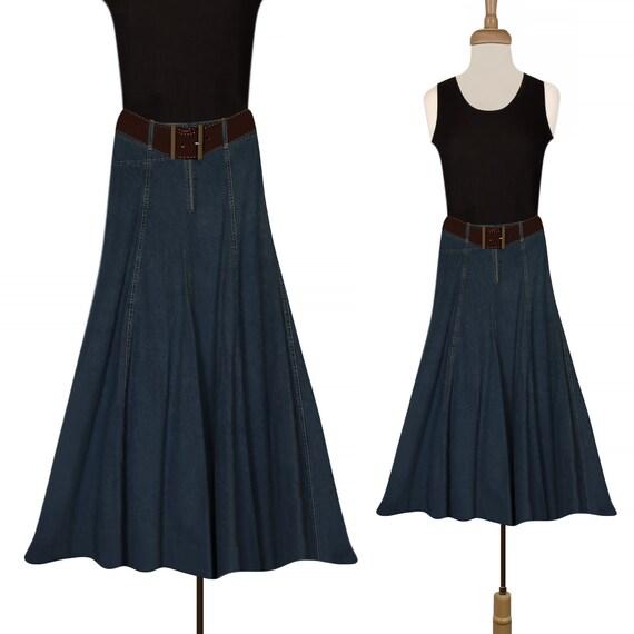 Vintage Denim Skirt- Jean Skirt- Long Jean Skirt-