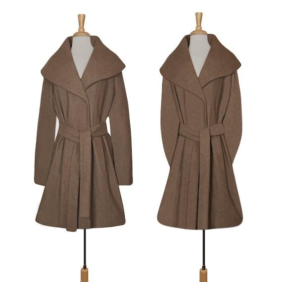 Women's Wool Coat- Wrap Coat- Belted Coat- Shawl C